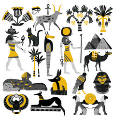 Egypt decorative icons set vector