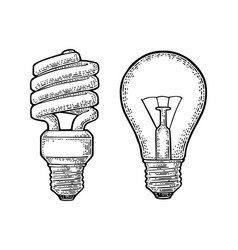 Energy saving spiral lamp and glowing light vector