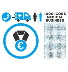 Euro Champion Medal Icon with 1000 Medical vector image