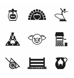 farming icon set vector image