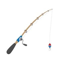 Fishing rod cartoon icon vector image