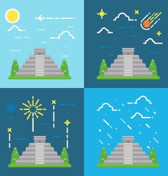Flat design 4 styles of Chichen Itza Yucatan Mexic vector image
