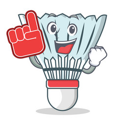 Foam finger shuttlecock character cartoon vector