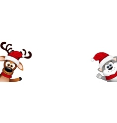 Funny cat and reindeer on white background vector