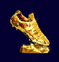 golden boot low poly modeling design vector image
