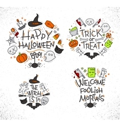Halloween flat monograms color vector image