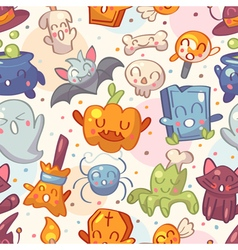 Halloween seamless pattern with cute characters vector