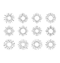hand drawn starburst doodle explosion or sun vector image