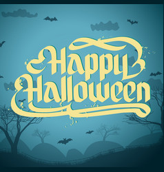 happy halloween typographical concept vector image