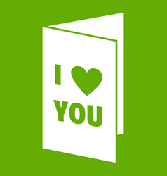 Happy valentines day or weeding card icon green vector