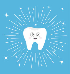 Healthy tooth icon with smiling face and big eyes vector