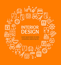 Home decor signs round design template line icon vector