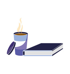 Hot coffee and education office book vector