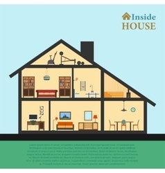 House inside Detailed modern house interior in vector
