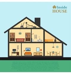 House inside detailed modern interior vector