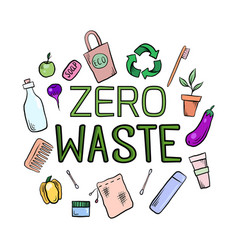 Inscription zero waste with eco friendly objects vector