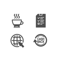 Internet interview and espresso icons cashback vector
