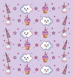kawaii pattern design vector image