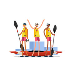 kayak team canoe slalom medal podium vector image