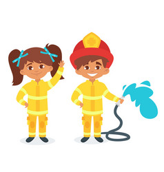 kids in firefighter uniform vector image