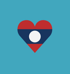 laos flag icon in a heart shape in flat design vector image