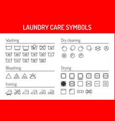 laundry care symbols linear icons set isolated on vector image