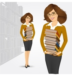 librarian holding stack of books vector image