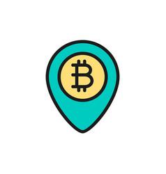Location mark with bitcoin coin blockchain flat vector