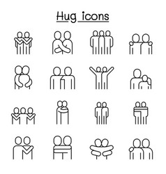 love hug friendship relationship icon set in thin vector image