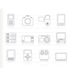 media and electronics icons vector image