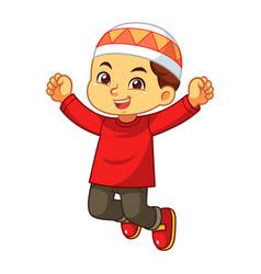 Moslem boy jumping vector