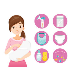 Mother breastfeeding and hugging baby baby icons vector
