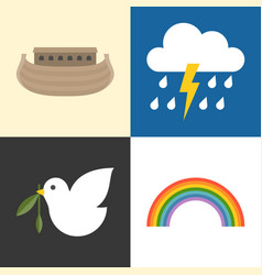 Noah ark icons set vector
