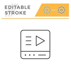 online media player editable stroke line icon vector image