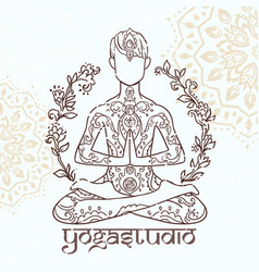 Ornamental man in a yoga pose vector