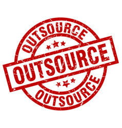 outsource round red grunge stamp vector image