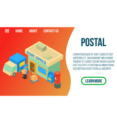 Postal concept banner isometric style vector