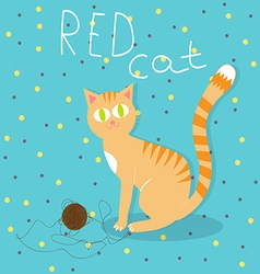 Red cat plays with wool ball vector
