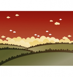 red sky landscape vector image