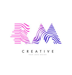 Rm r m zebra lines letter logo design with vector