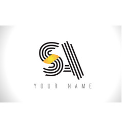 Sa black lines letter logo creative line letters vector