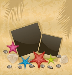 Sand background with photo frames starfishes vector