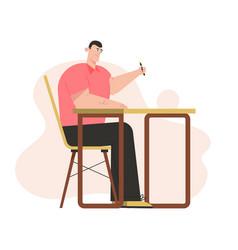 Screenwriter writes film script sitting at desk vector