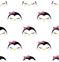 seamless pattern with cute penguin vector image