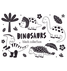 set isolated black cute dinosaurs and tropical vector image