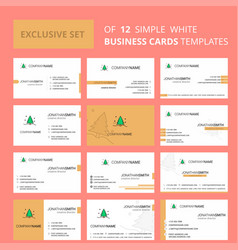 set of 12 christmas tree creative busienss card vector image