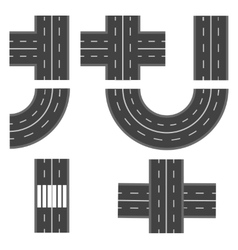 Set of different road highway sections vector