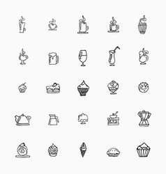 Set of hand-drawn icons on food cups of coffee vector