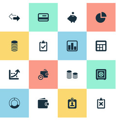 Set of simple financial icons vector