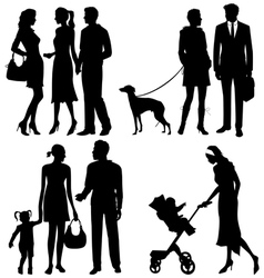 Several people on street - silhouettes vector